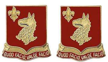 Army Crest: 84th Regiment - Quod Facio Valde Facio- pair