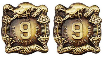 Army Crest: 9th Infantry Regiment - Keep Up The Fire (Manchu)- pair