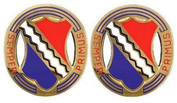 Army Crest: First Infantry Regiment - Semper Primus- pair