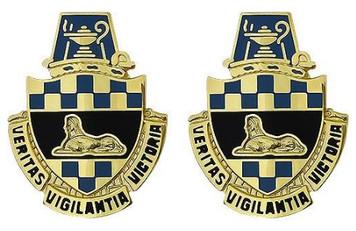 Army Crest: Intelligence Center and School - Veritas Vigilantia Victory- pair