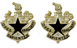 Army Crest: Logistics University - Opes Sapienter Tractare- pair