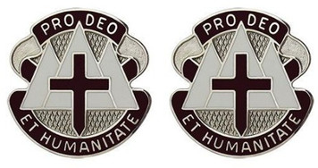 Army Crest: MEDDAC Fort Carson - Pro Deo Et Humanitate- pair