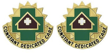 Army Crest: MEDDAC Fort Leavenworth - Constant Dedicated Care- pair