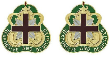 Army Crest: Medical Command Health Service - Responsive and Dedicated- pair