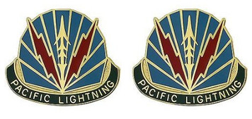 Army Crest: Military Police Brigade Hawaii - Pacific Lightening- pair