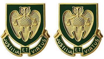 Army Crest: Military Police School - Justitia ET Virtus- pair
