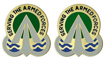 Army Crest: Military Surface Deployment and Distribution Command - Serving the Armed Forces- pair