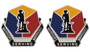 Army Crest: National Guard Training Center Garrison Command Motto: Warriors Serving Warriors- pair