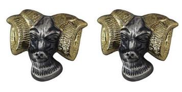 Army Crest: Rams Head- pair