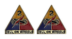 Army Crest: Second Armored Division - Hell on Wheels- pair