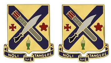 Army Crest: Second Infantry Regiment - Noli Me Tangere- pair