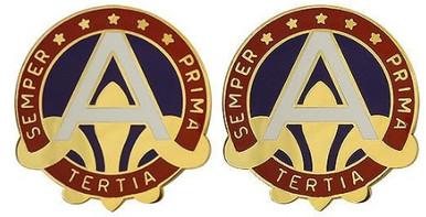 Army Crest: US Army Central - Semper Prima Tertia- pair