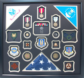 Duel Enlisted Army/Air Force Shadow Box Display