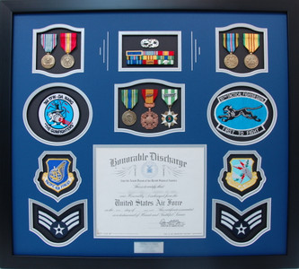 USAF Honorable Discharge Certificate Shadow Box Display
