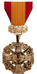Full Size Medal: Gallantry Cross Armed Forces NO ATTACHMENT- 24k Gold Plated