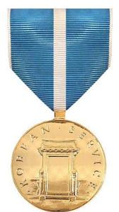Full Size Medal: Korean Service - 24k Gold Plated