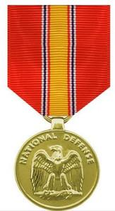Full Size Medal: National Defense - 24k Gold Plated