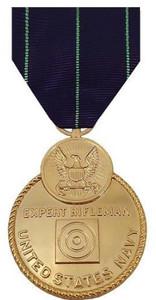 Full Size Medal: Navy Expert Rifle - 24k Gold Plated