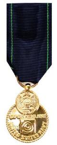 Navy Expert Pistol Miniature Medal- 24k Gold Plated