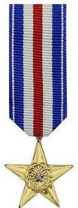 Silver Star Miniature Medal- 24k Gold Plated