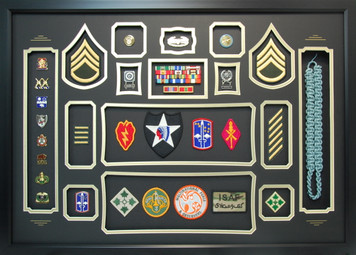 Army Shadow Box Displaying Patches and Unit Crests