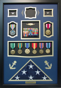 US Coast Guard Captain Shadow Box Display