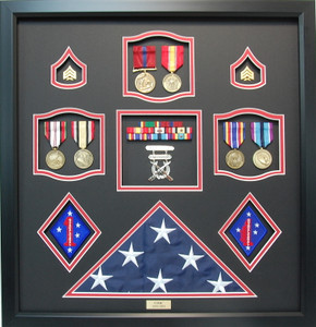 US Marines First Marines Division Shadow Box Frame