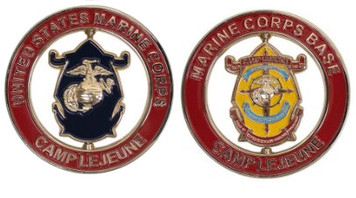"""Marine Corps Spinner Coin 2"""" Marine Corps Base Camp Lejeune"""