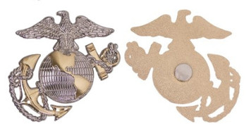 """Marine Corps Magnet 2.5"""" Coin  Eagle, Globe and Anchor – Silver/Gold"""