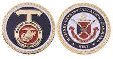 "Marine Corps Coin 2"" Installation Command West Marine Corps Base Camp Pendleton"