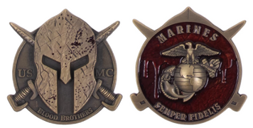 Marine Corps Coin Spartan Blood Brothers