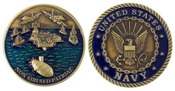 """Navy Coin 2"""" US Navy Theme - Non Sibi Sed Patriae"""