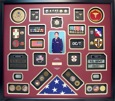 U.S. Army LTC Nurse Corps Retirement Shadow Box with Flag