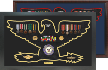 """14"""" x 24"""" Colonel/Captain Rank Shaped Shadow Box Display Frame"""