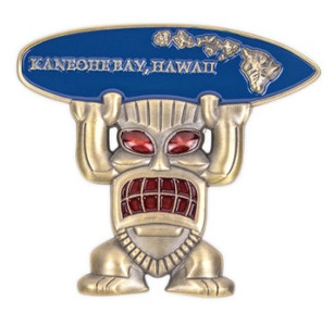 Marine Corps Magnet Coin Marine Corps Air Station Kaneohe Bay Tiki Surf Antique