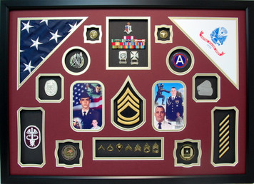 U.S. Army Medical Dual Flag Shadow Box Display