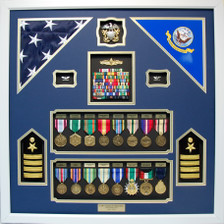 U.S. Navy Captain Dual Flag Shadow Box Display