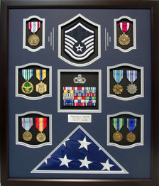 U.S. Air Force MSgt Flag Shadow Box Display