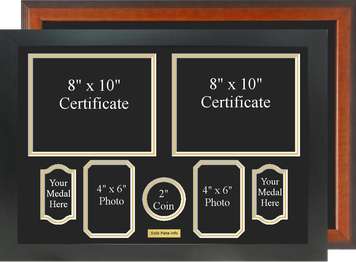 """17"""" x 24"""" Double Certificate Frame w/ (2) Medals (2) Photos"""