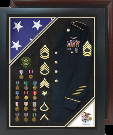 "30"" x 38"" Double Flag Uniform Shadow Box w/ Burial Flag"