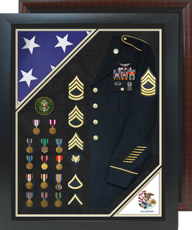"30"" x 38"" Double Flag Uniform Shadow Box w/ Burial Flag"