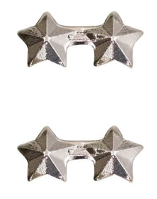 """Ribbon Attachment 3/16"""" Two Star Silver – pair"""