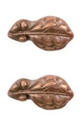 "Ribbon Attachment 5/16"" One Bronze Oak Leaf  - pair"