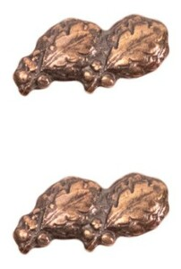 "Ribbon Attachment 5/16"" Two Oak Leaf Bronze Cluster - pair"