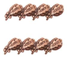 """Ribbon Attachment 5/16"""" Four Oak Leaf Bronze Cluster - pair"""