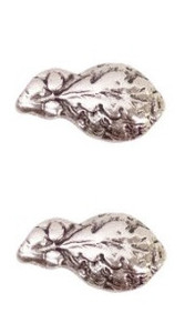 "Ribbon Attachment 5/16"" Oak Leaf Silver Cluster - pair"