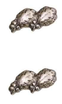 "Ribbon Attachment 5/16"" Two Oak Leaf Silver Cluster - pair"