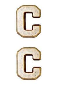 """Ribbon Attachment Letter C - 1/4"""" - bronze - pair"""