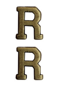 "Ribbon Attachment Letter R - 1/4"" - bronze - pair"