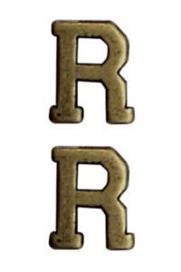 "Ribbon Attachment Letter R - 1/4"" - bronze - pair"